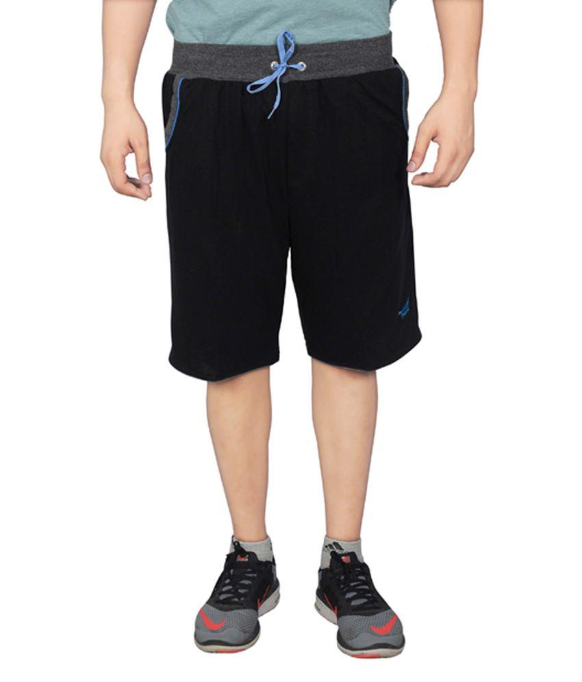 NNN Black Knee Length Cotton Men's Bermuda