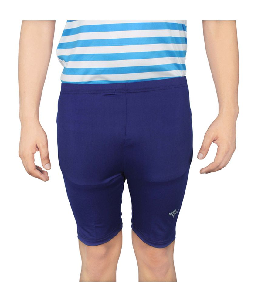 NNN Blue Knee Length Lycra Cycling Men's Shorts