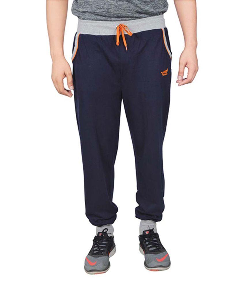 NNN Navy Blue Cotton Sports Full Men's Track Pant