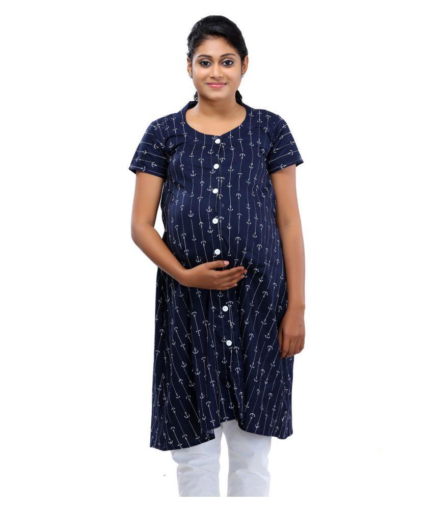 760f2d18d0ac7 Ziva Maternity Wear Blue Cotton Maternity Price in India | Buy Ziva  Maternity Wear Blue Cotton Maternity Online - Gludo.com
