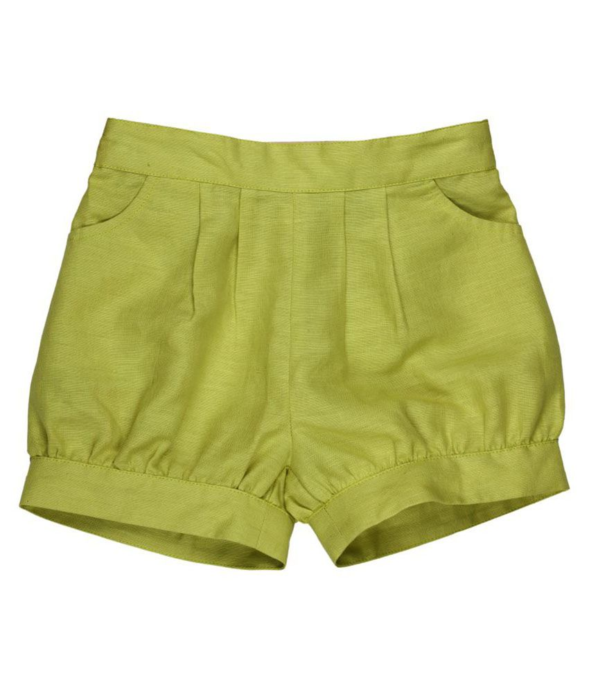 My Lil' Berry Green Cotton Shorts
