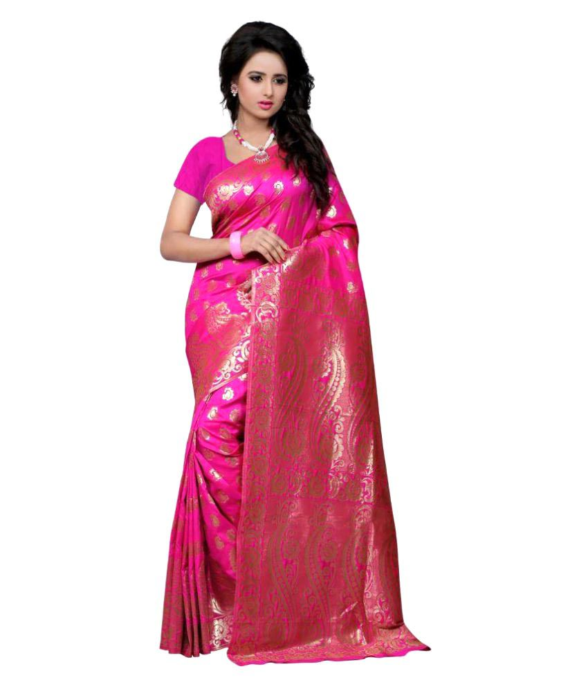 Shopaholic Enterprise Pink Bhagalpuri Silk Saree