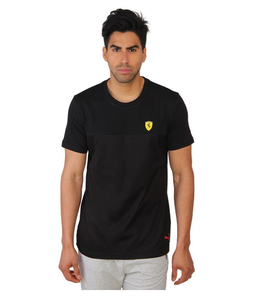 Puma Black Cotton Men T-Shirt