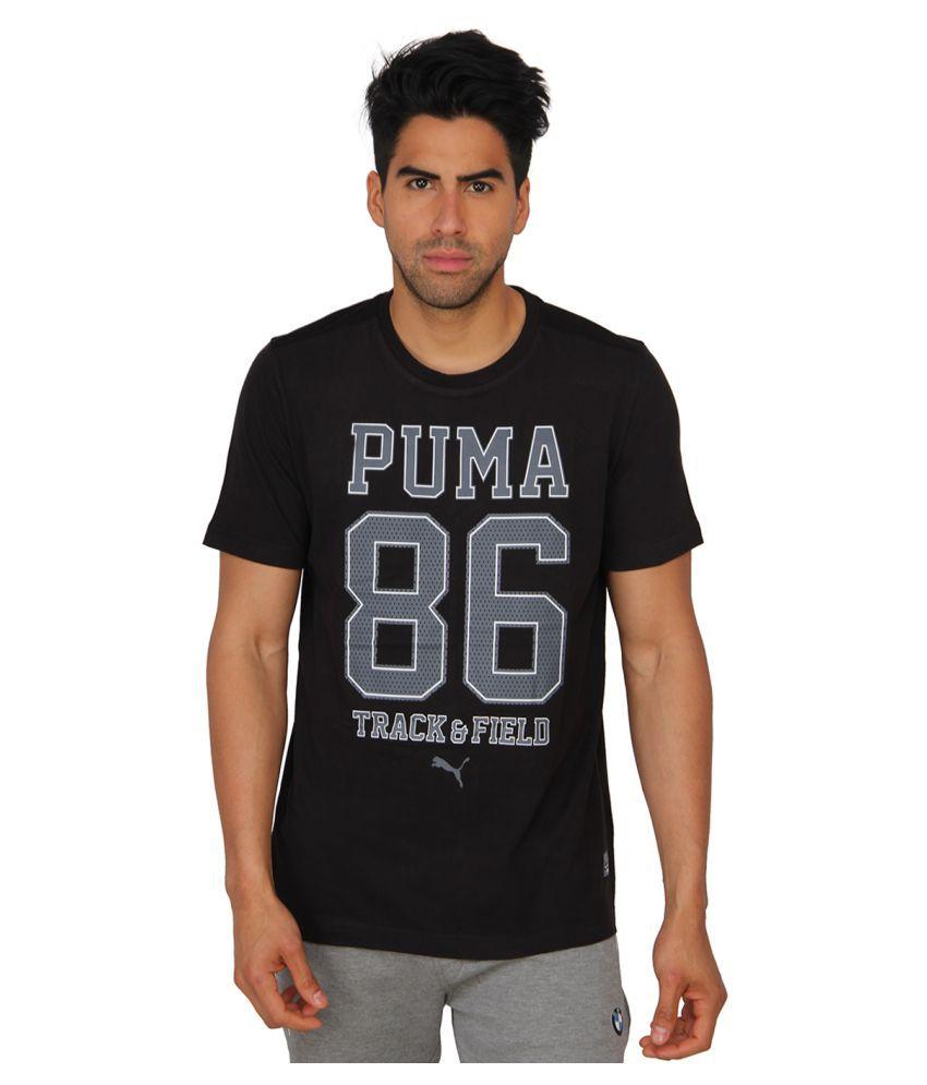 Puma Mens Black Cotton Printed T-shirt