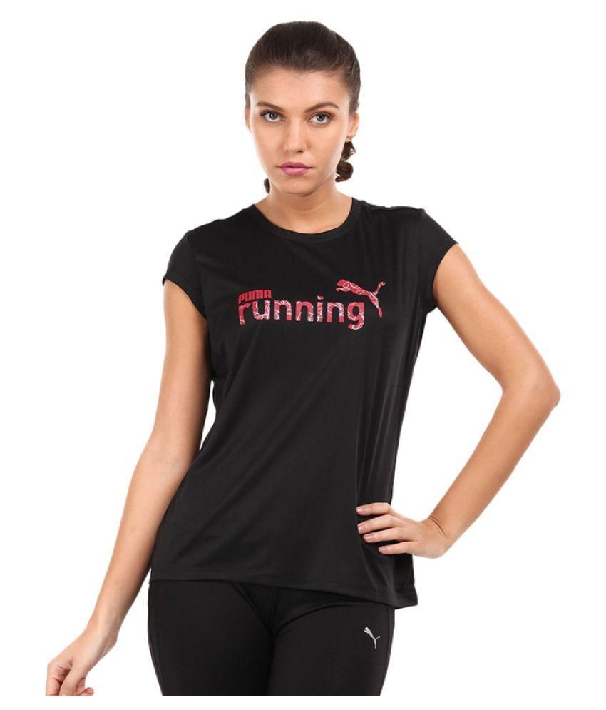 Puma Black Cotton Women T-Shirt