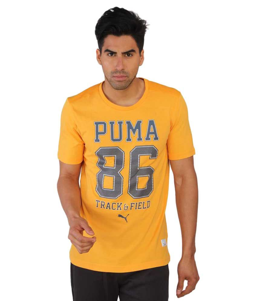 Puma Mens Yellow Printed T-shirt