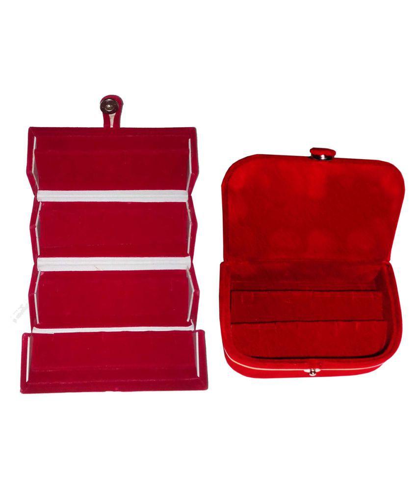 Abhinidi Red Wooden Jewellary Boxes - Set of 2