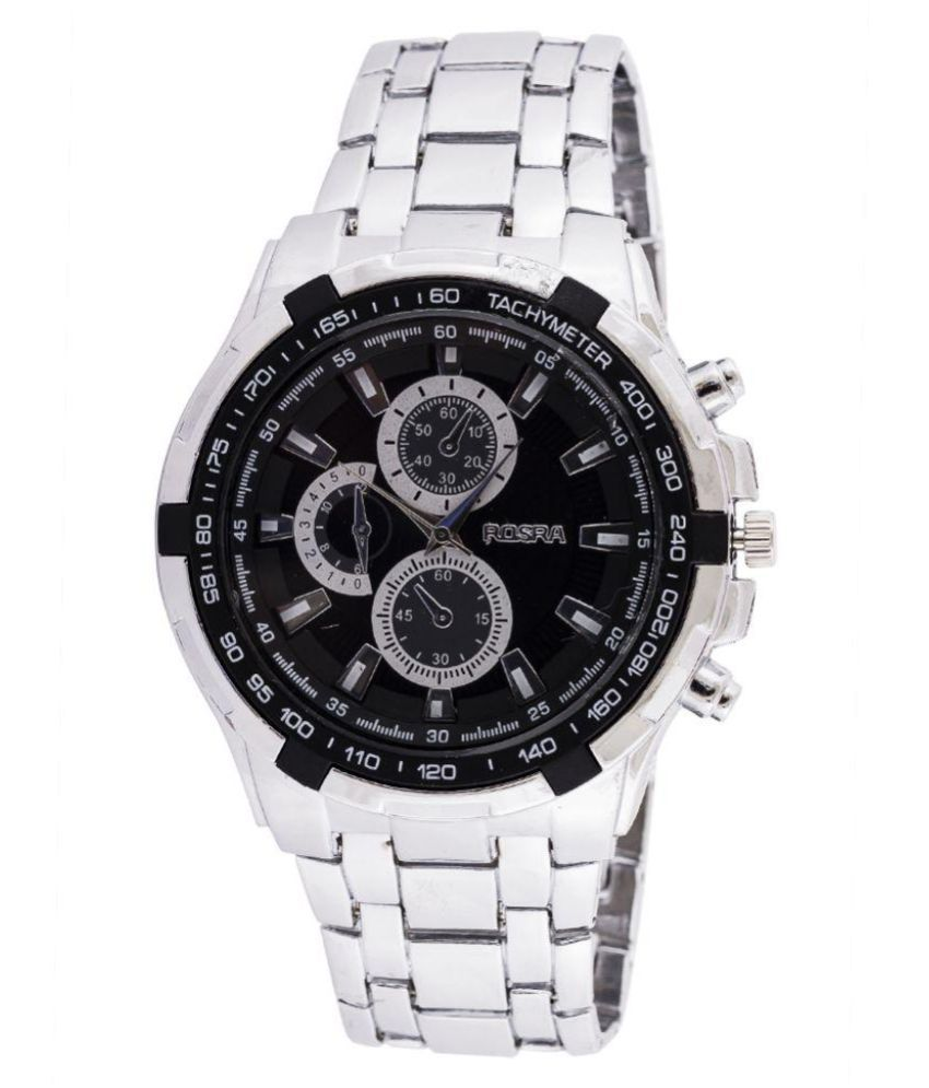 Rosra silver metal analog watch buy rosra silver metal analog watch online at best prices in for Rosra watches