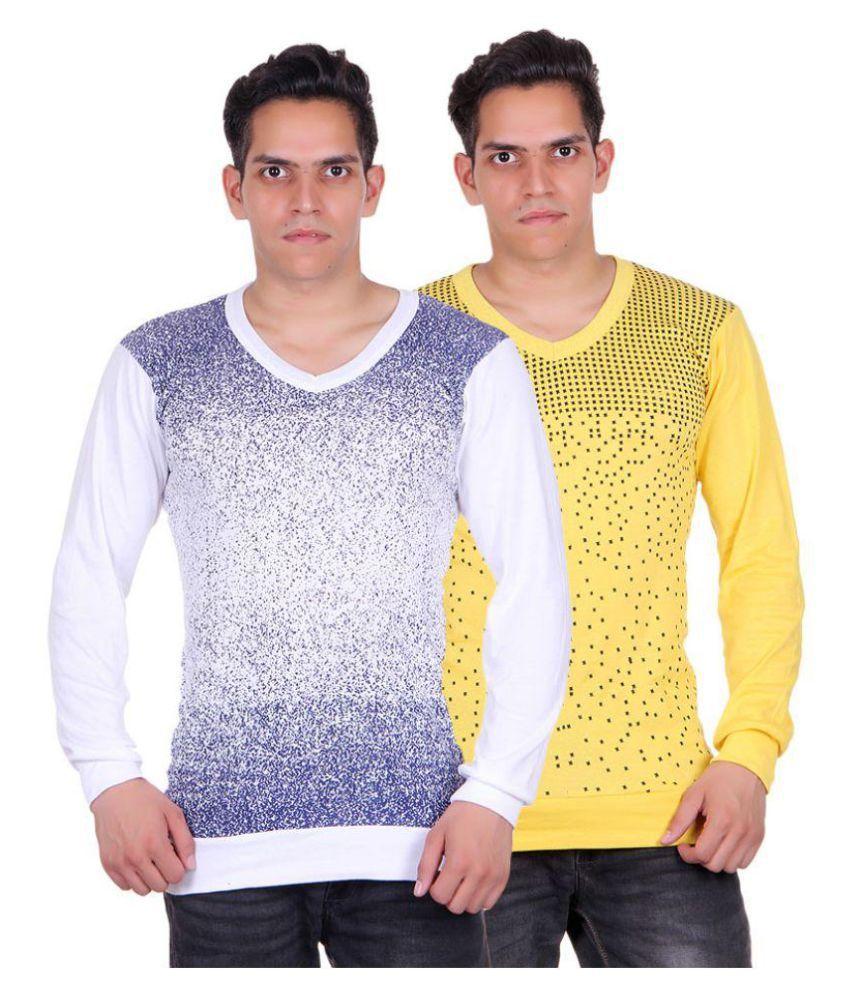 White Moon Multi V-Neck T-Shirt Pack of 2