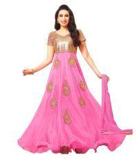 Dipuben Mangukiya Pink Georgette Dress Material