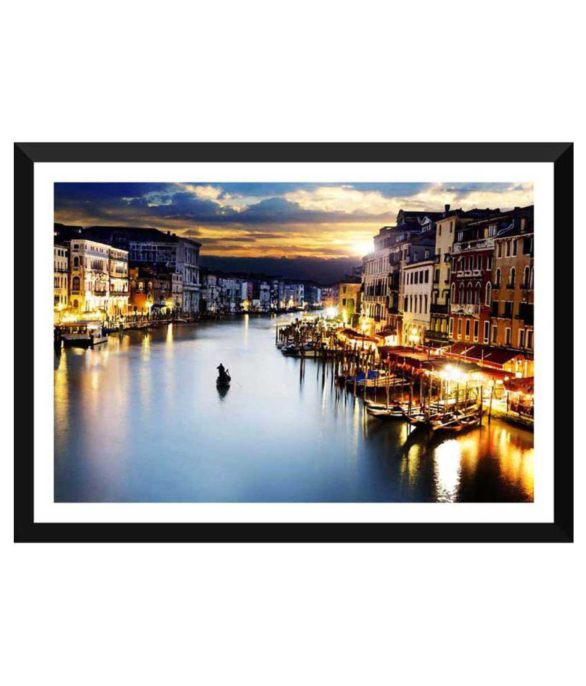 Tallenge A Beautiful Twilight View Of Venice Paper Art Prints With Frame Single Piece