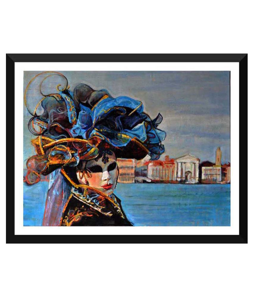 Tallenge Oil Painting Of A Woman In Venetian Mask Paper Art Prints With Frame Single Piece