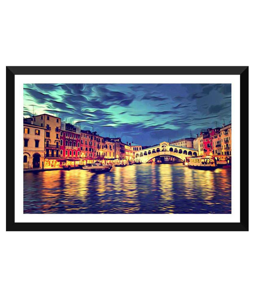 Tallenge Surreal View Of Venice Grand Canal Paper Art Prints With Frame Single Piece