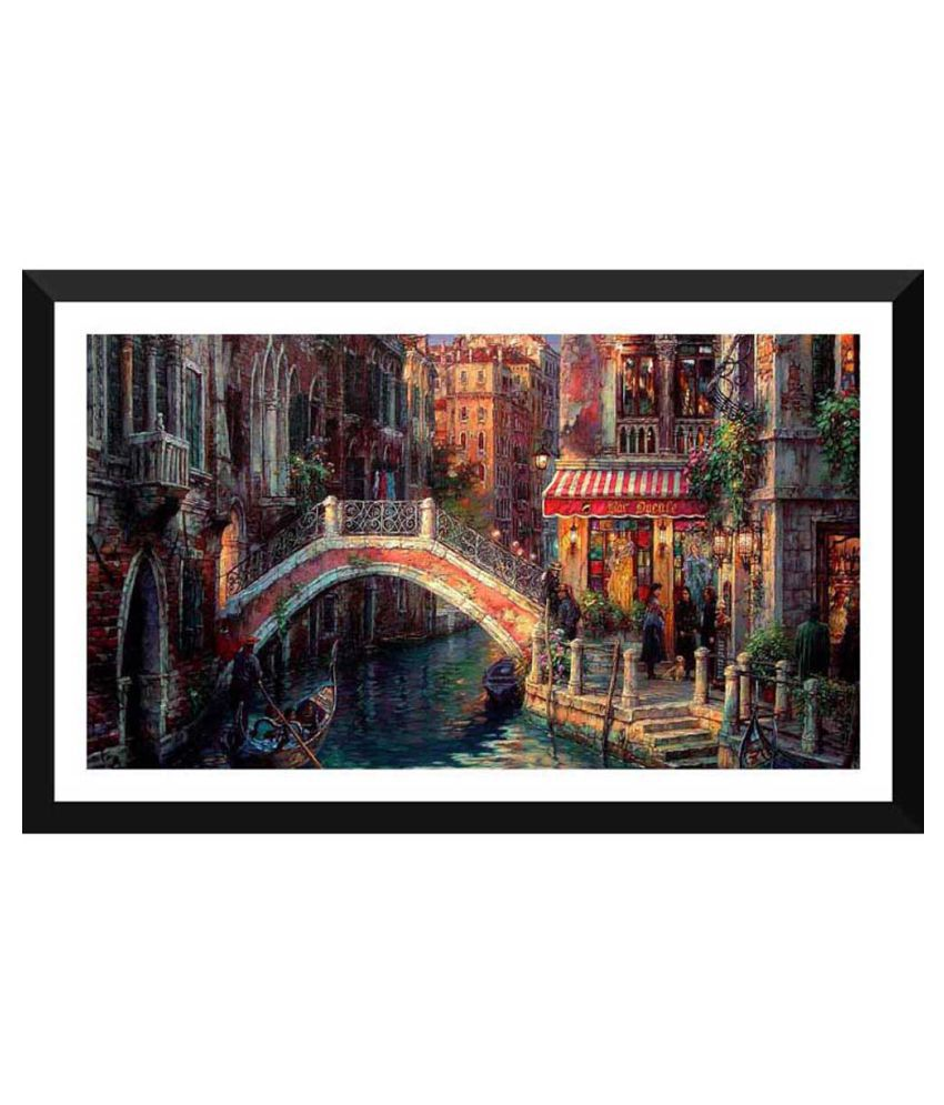 Tallenge Vintage Painting Of Bridge And Canal In Venice Paper Art Prints With Frame Single Piece