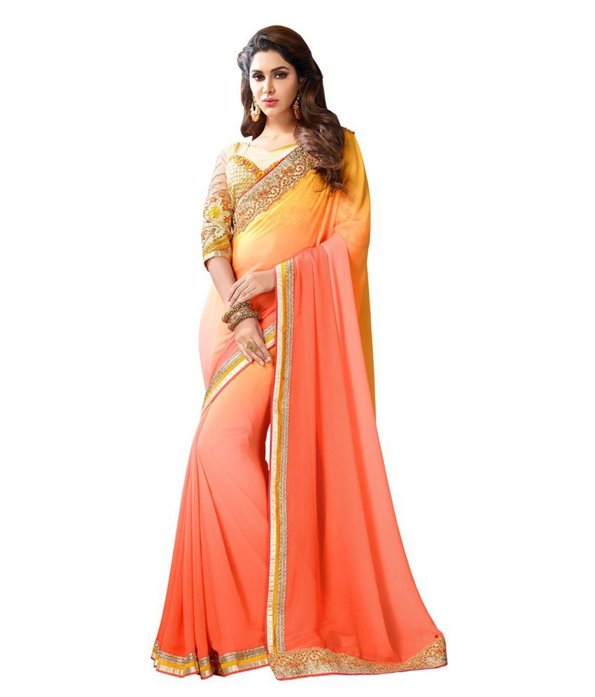Viva N Diva Orange Georgette Saree