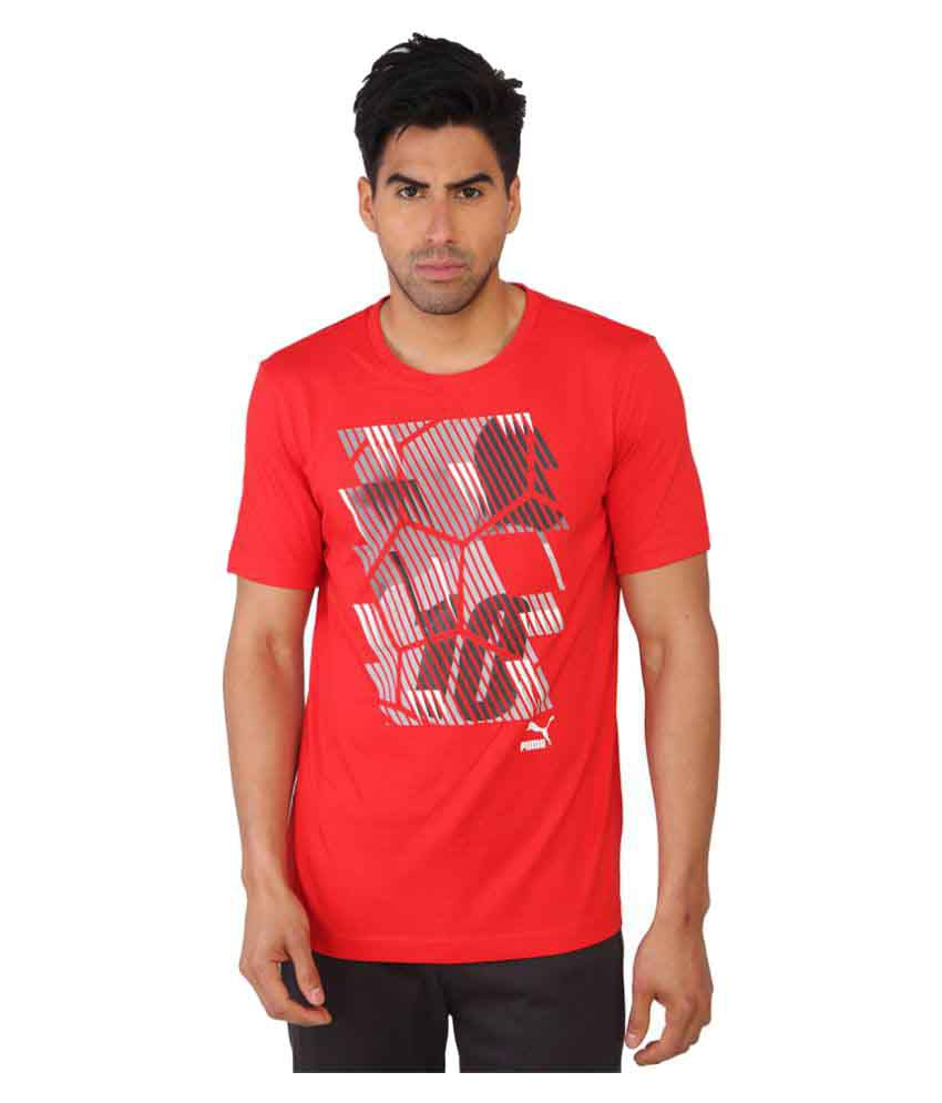Puma Mens Printed Red T-shirt