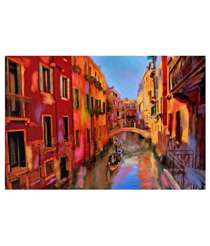 Tallenge Painting Of Gondola Ride In Venice Canvas Art Prints With Frame Single Piece