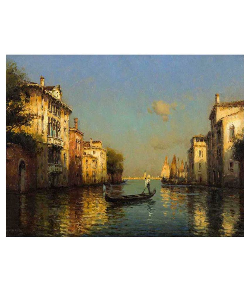 Tallenge Vintage Oil Painting Of Gondolier In Venice Canvas Art Prints With Frame Single Piece