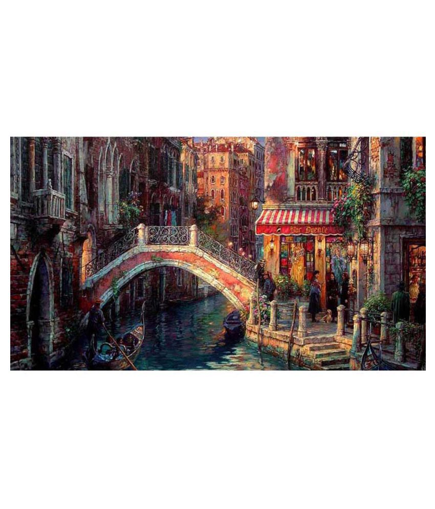Tallenge Vintage Painting Of Bridge And Canal In Venice Canvas Art Prints With Frame Single Piece