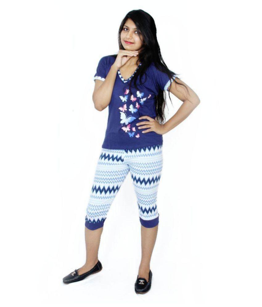Apple Knitt Wear Blue Cotton Nightsuit Sets