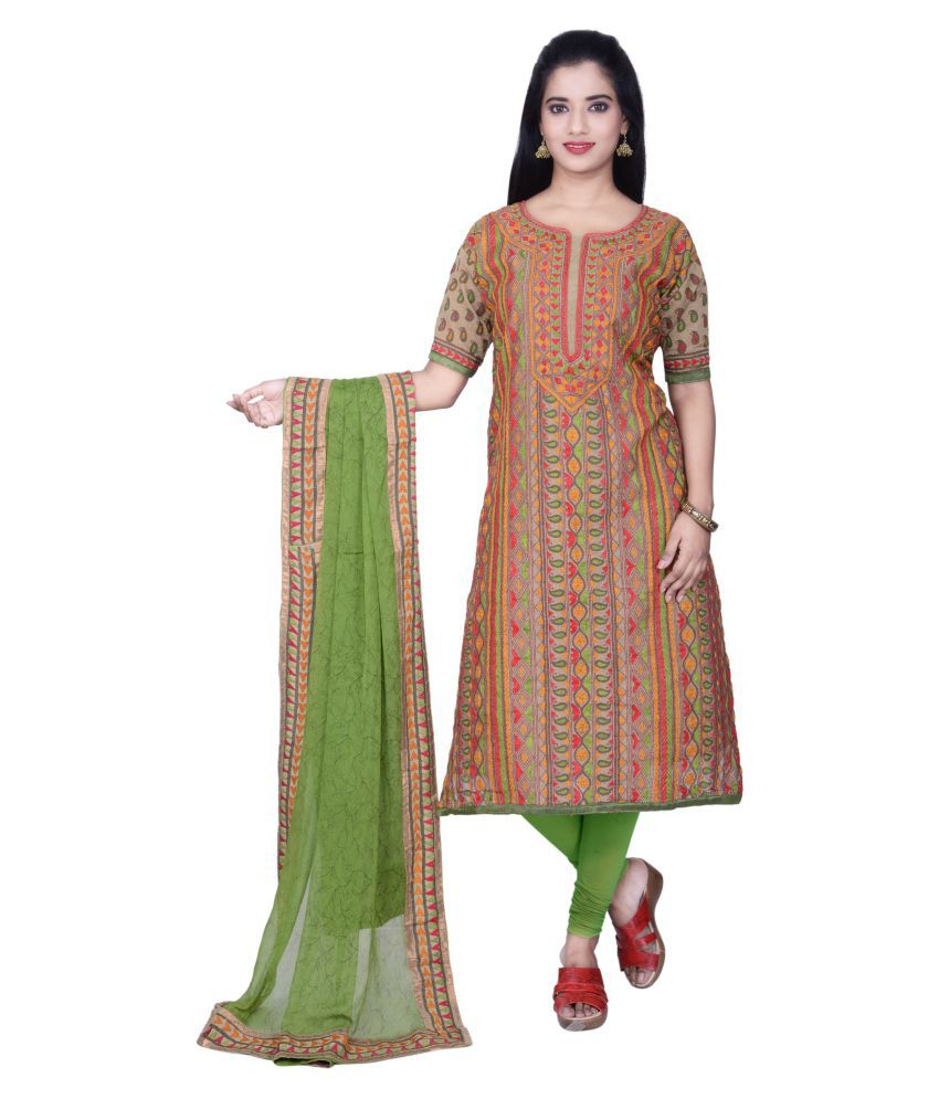 Kisah Multicoloured Chanderi Dress Material
