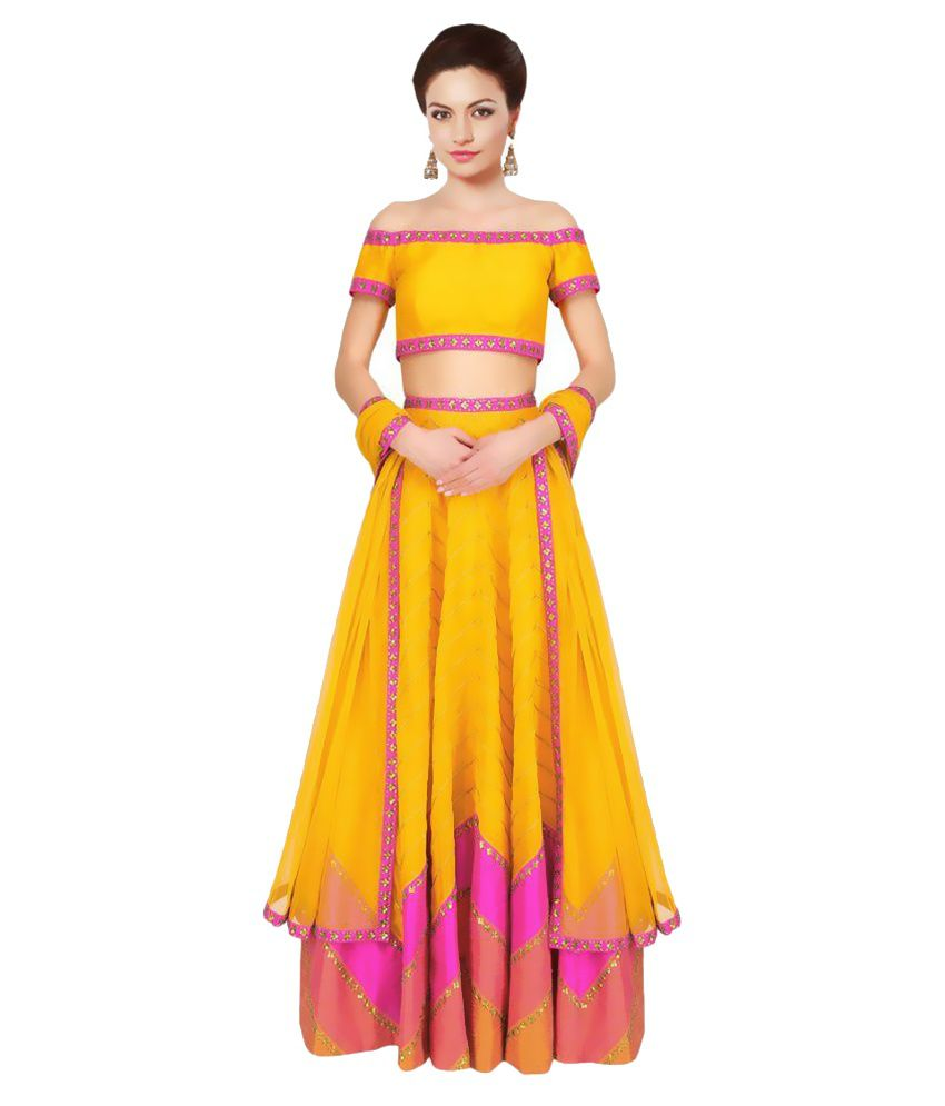 Kmozi Yellow Art Silk Circular Semi Stitched Lehenga  available at snapdeal for Rs.1899
