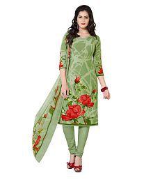 Ishin Green Crepe Dress Material