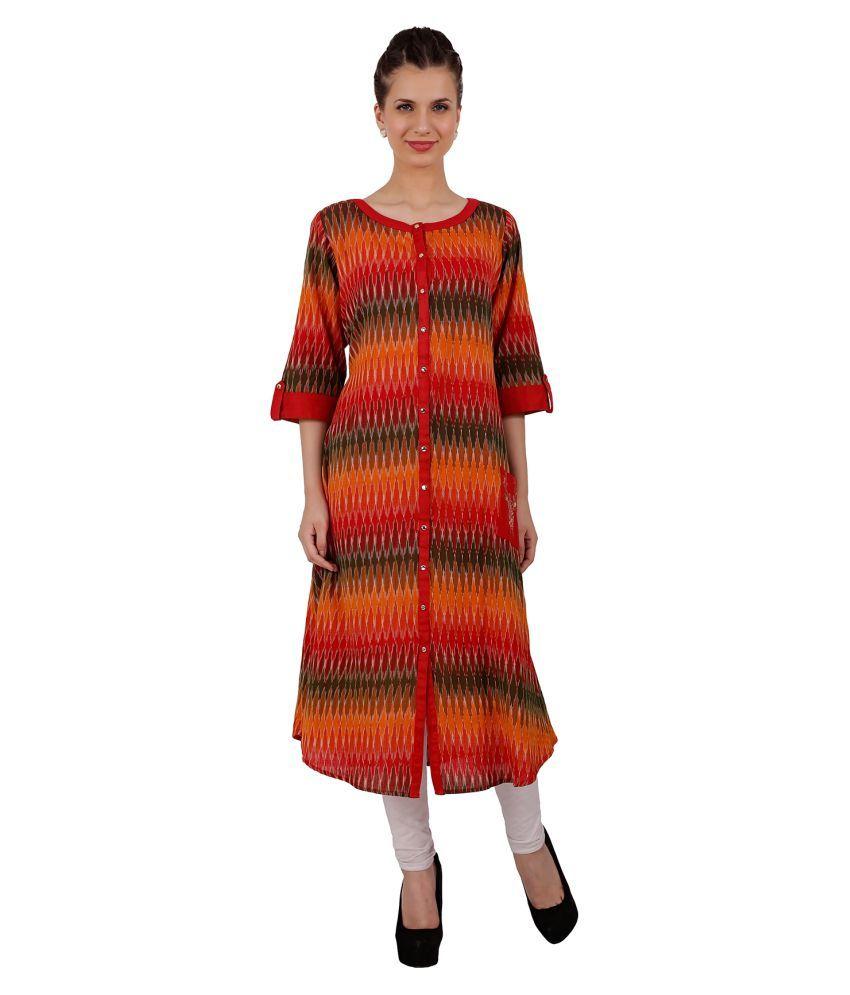 Yosshita & Neha Multicoloured Cotton Shirt style Digital Printed Kurti