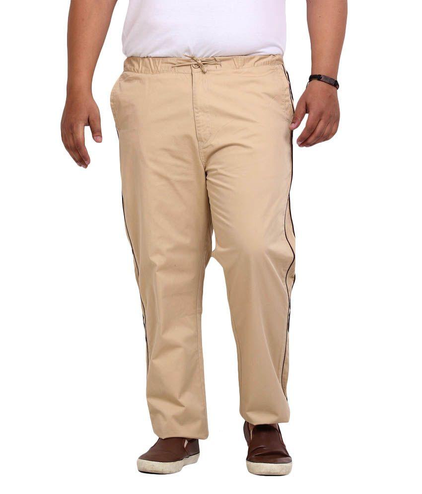 John Pride Beige Regular Flat Trouser