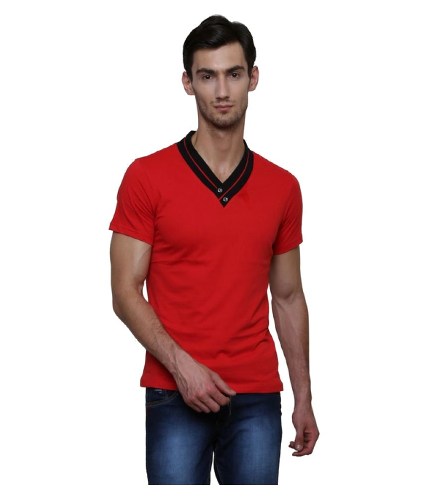 Le Bourgeois Red V-Neck T-Shirt