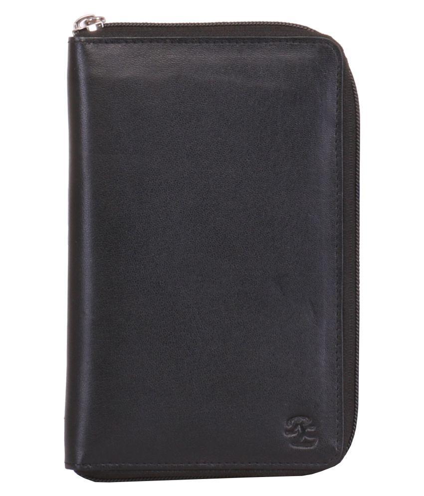 Walletsnbags Full Zip Passport & Ticket Holder Leather Black Passport Holder