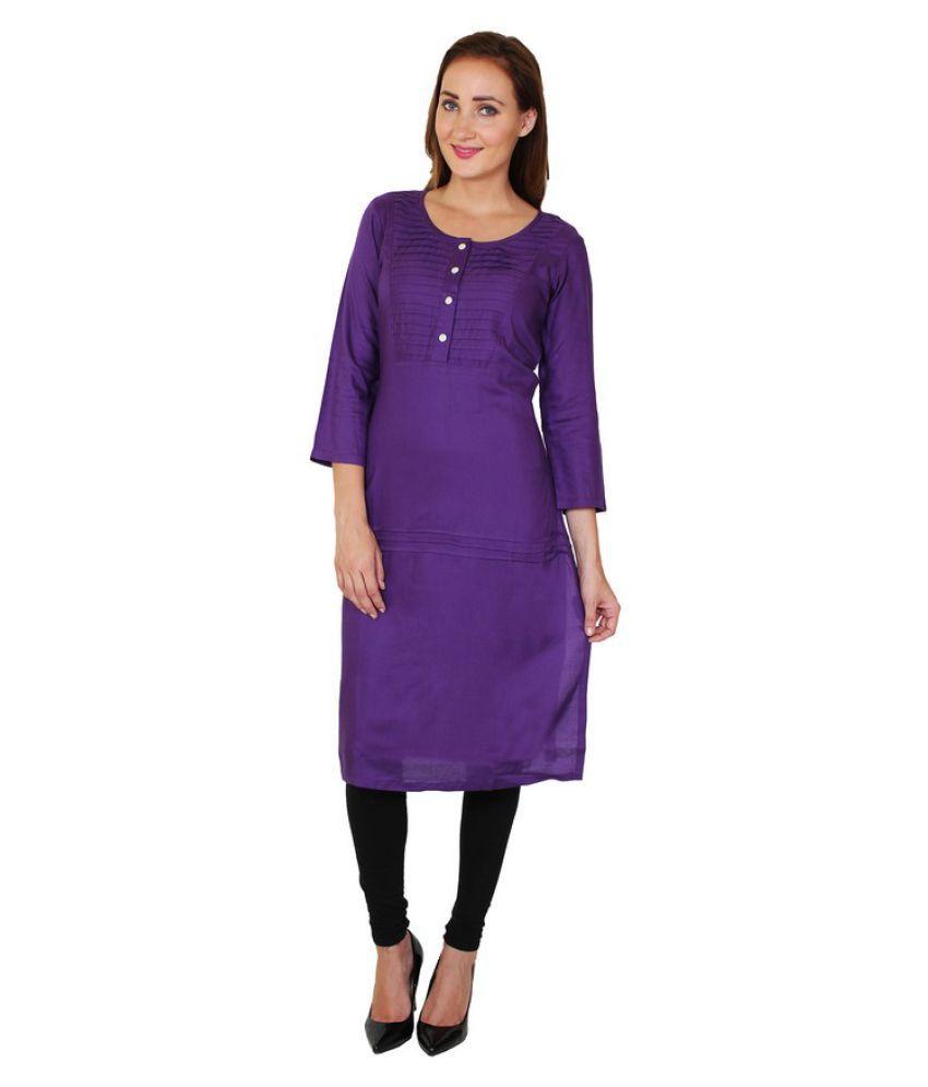 Sritika Purple Rayon Straight Patch work Kurti