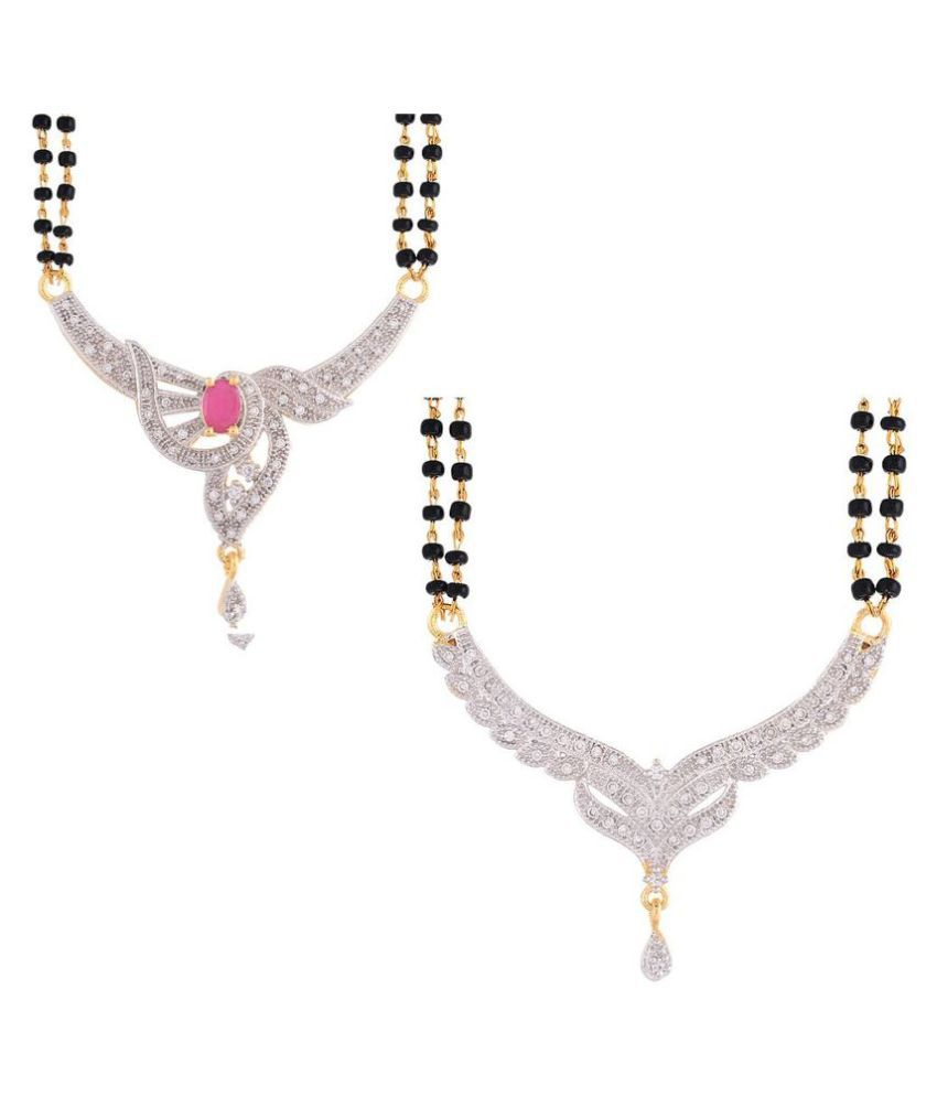 Awww Multicolour Alloy Mangalsutra - Set of 2