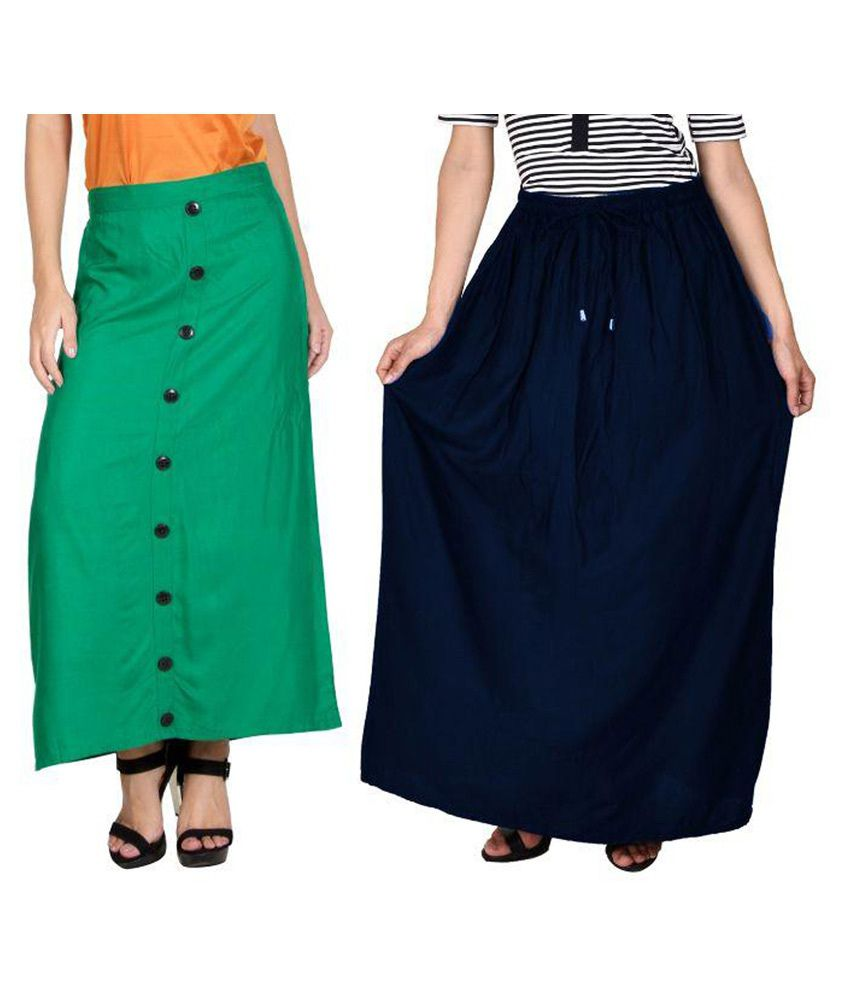 Curvyy Multi Color Rayon Maxi Skirt - Pack of 2