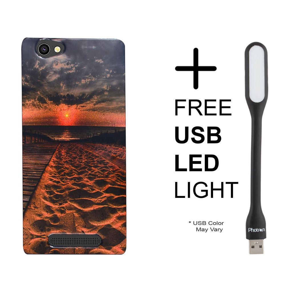 Shopme Printed back cover with USB LED Flexible Light (Any Color) for Xolo Era 4G