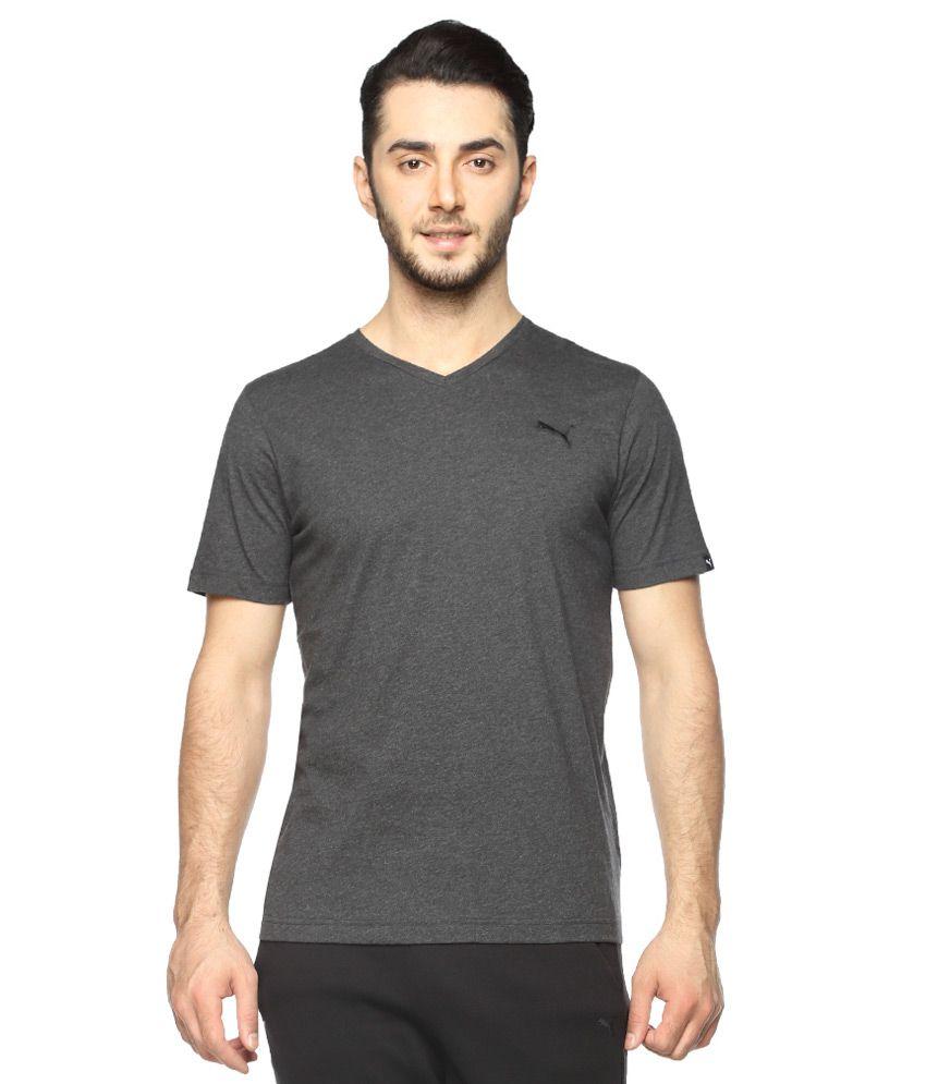 Puma Grey V-Neck Neck Solids T-Shirt