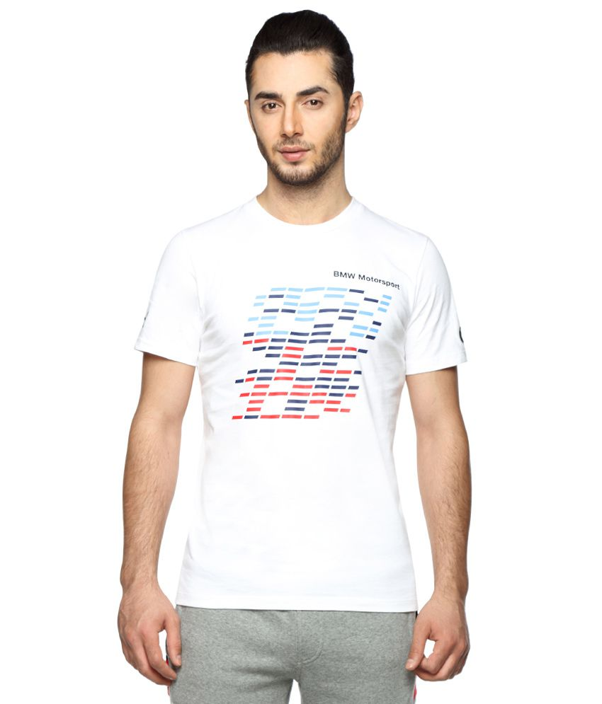 Puma White Round Neck Printed T-Shirt