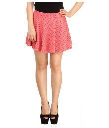 Loverlobby Peach Polyester Skater Skirt