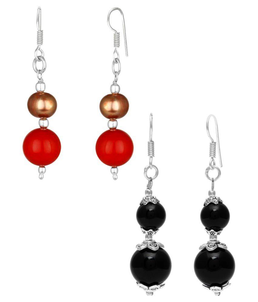 Trend Arrest Multicolour American Diamond Earrings Combo - Pack of 2