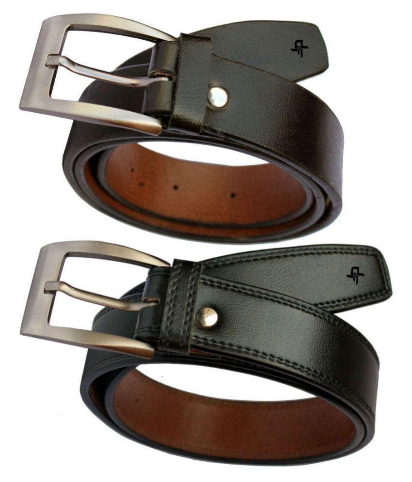 Discover Fashion Black PU Formal Belt for Men - Pack of 2