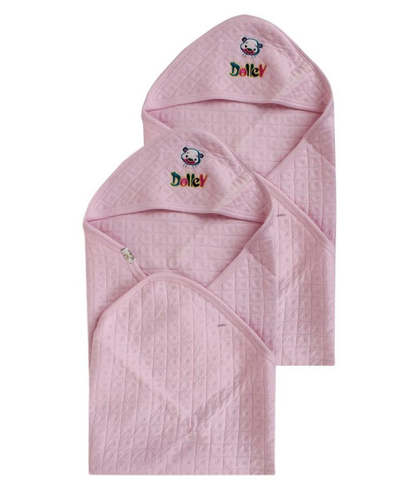 Little Buds Pink Cotton Baby Wraps- Pack of 2