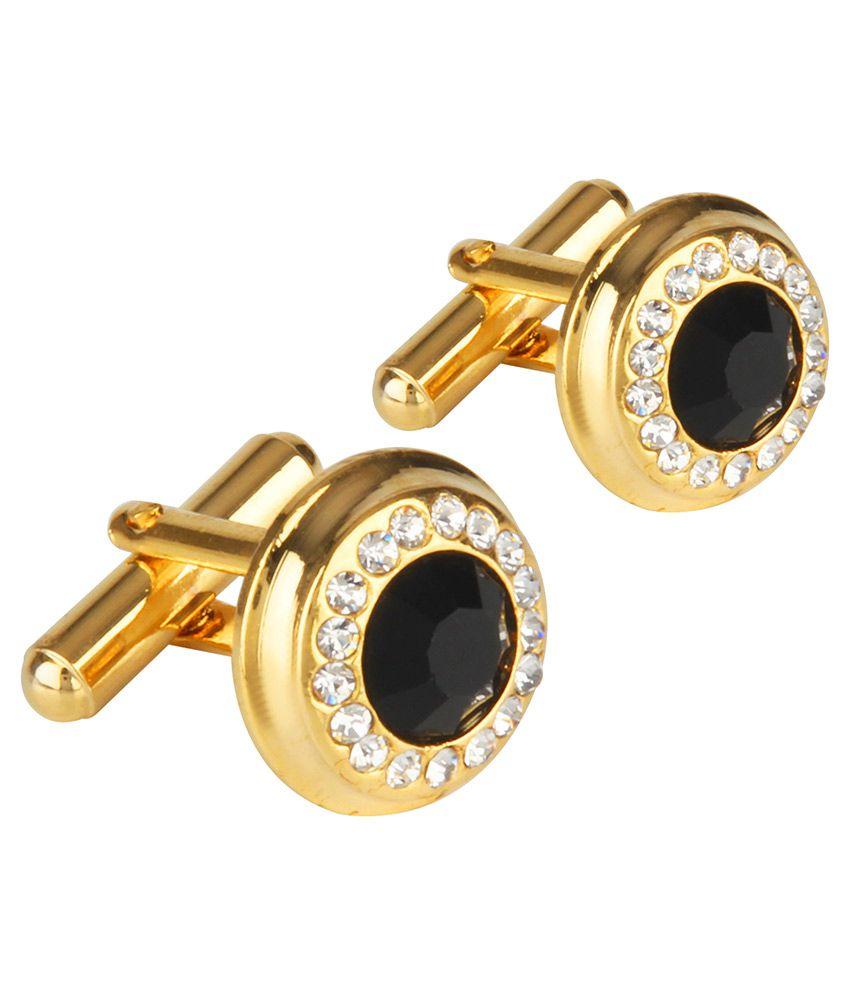 Shining Jewel Gold Plated Cufflinks