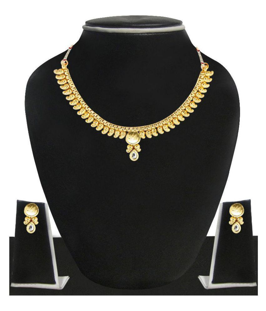 Zaveri Pearls Golden Kundan Necklace Set