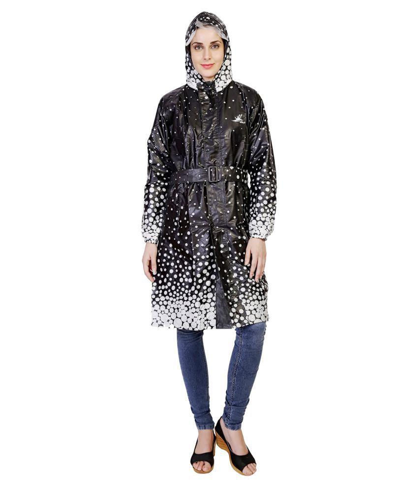 Zeel Black Polyester Long Raincoat
