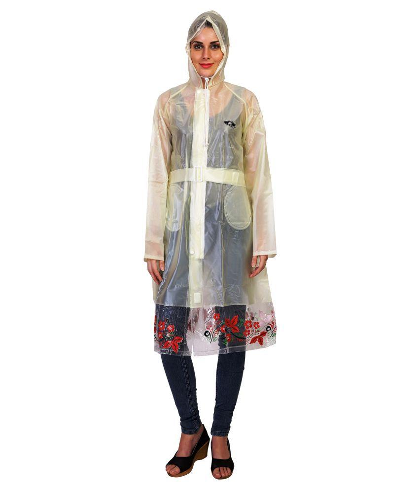 Zeel Yellow Polyester Long Raincoat
