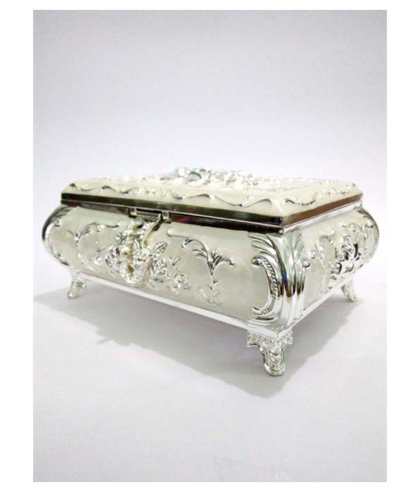 Ornate Silver Brass Jewelry Box