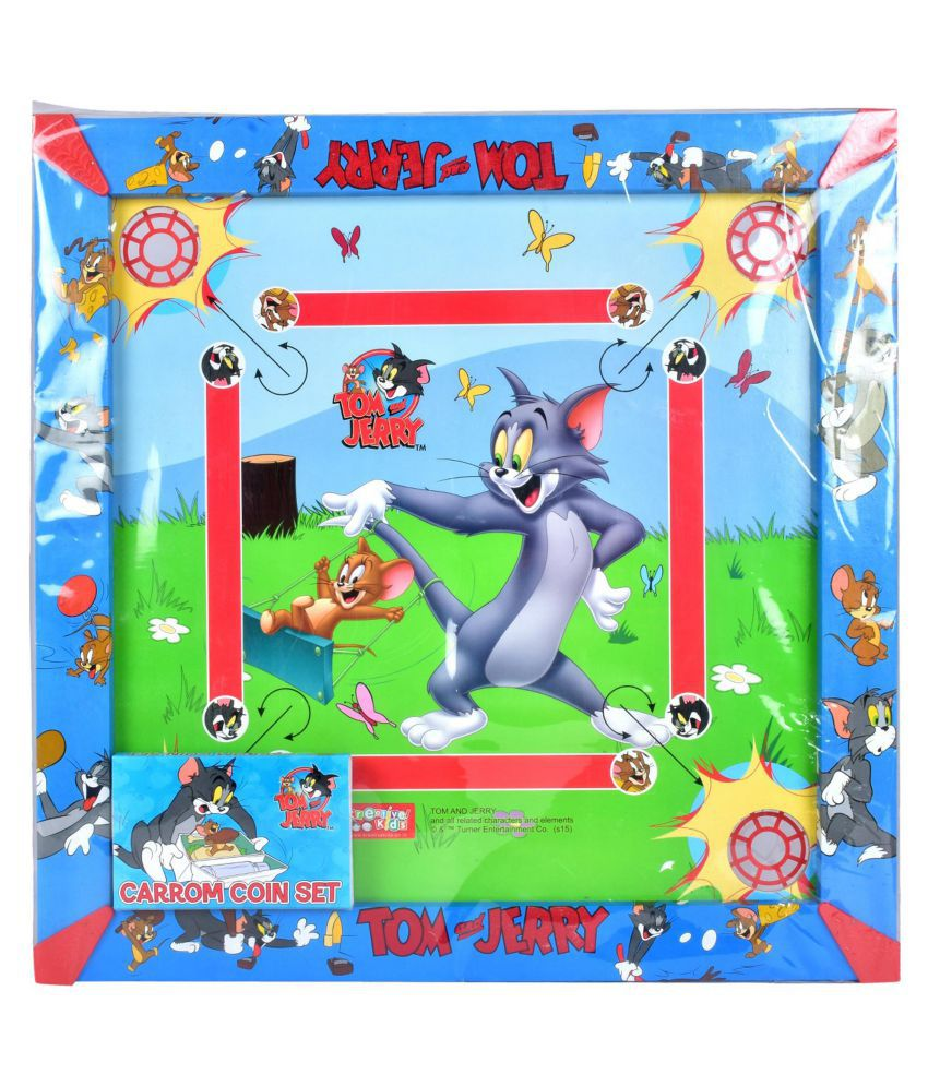Tom & Jerry Carom Board with Colourful Coins & Striker