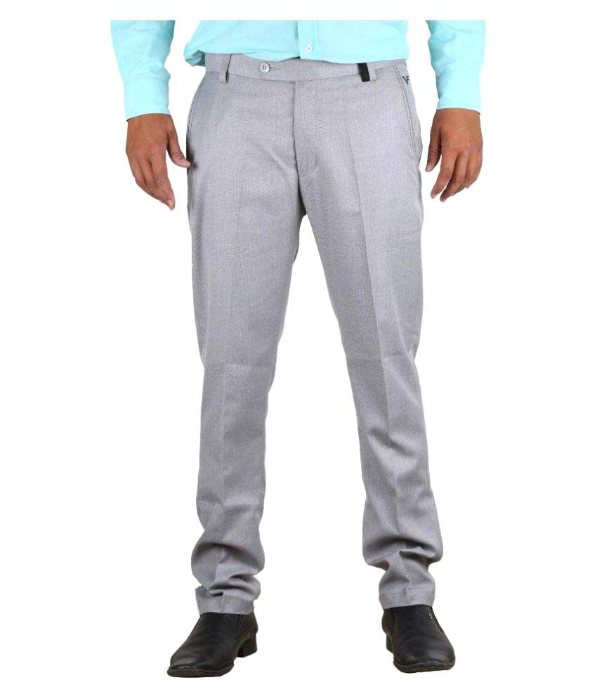Vandnam Fabrics Grey Slim Pleated Trouser