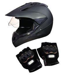 Studds Motocross Helmet With Gloves - Full Face Helmet Matte Black L