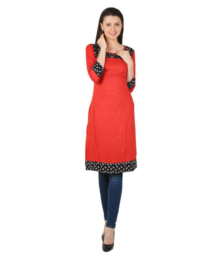 Harshaya G Red Rayon Straight Patch work Kurti